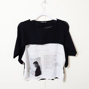 {Zara} W/B collection graphic top